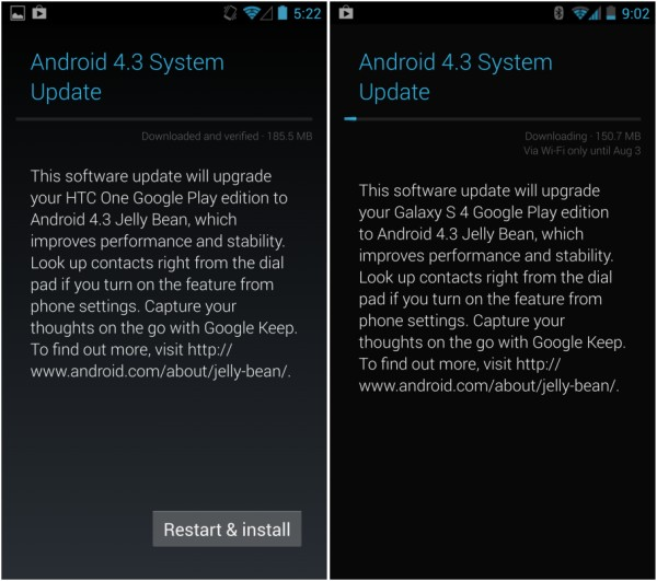 Android 4.3 rolling out for Galaxy S4