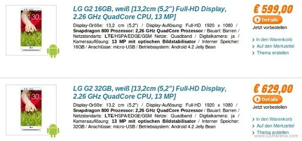 LG G2 to cost €599 in Europe