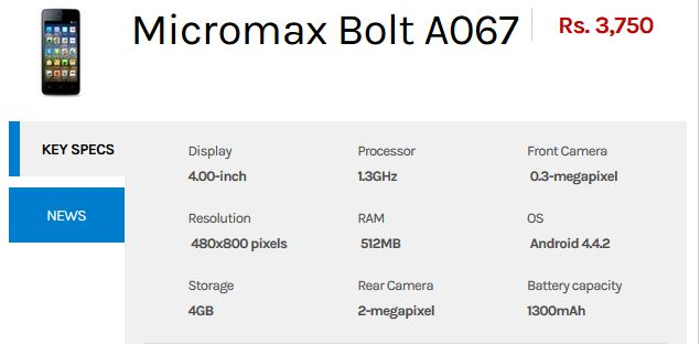 micromax-bolt-a067-Specs