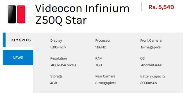 videocon-infinium-z40q-star-Specs